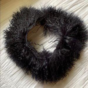 Black Fur Snood Scarf